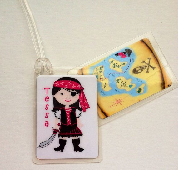 Girl Pirate Party Favor Pirate Bag Tag Pirate Lunch by Toddletags, $5.95