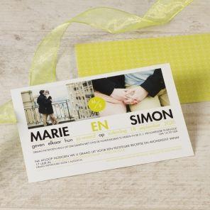 Trendy fotokaart met groen   Tadaaz #groen #twee #foto #uitnodiging #huwelijk #trouw #wedding #postkaartformaat