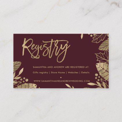 Goldblätter fallen schicke rote Hochzeitsregister-Einschließungskarte | Zazzle   – marsala style