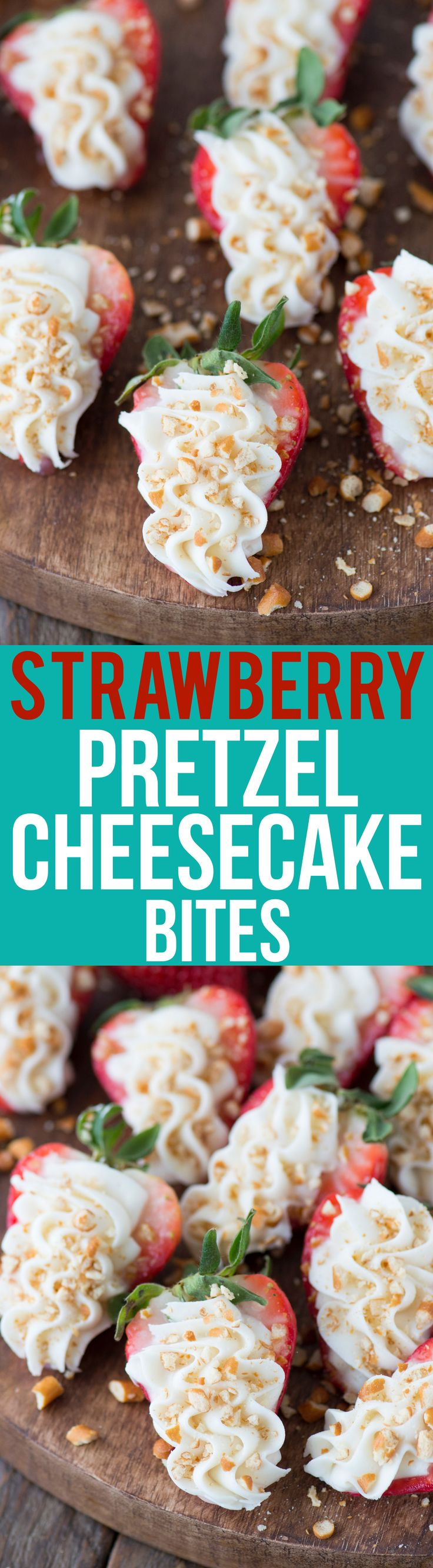 Simple, no bake summer dessert - strawberry pretzel cheesecake bites! Cheesecake stuffed strawberries topped with crushed pretzels.: