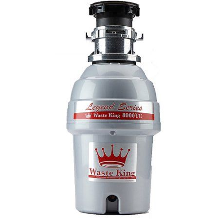 Waste King 8000TC Legend Series 1 HP EZ-Mount Batch-Feed Garbage Disposer, Silver