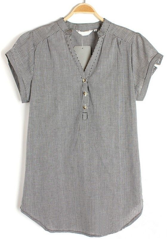 Grey Plaid Irregular V-neck Short Sleeve Chiffon Blouse