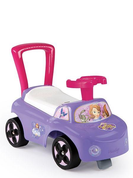 Ihana Sofia Ensimmäinen -potkuauto yli 10 kk:n ikäisille lapsille. Toimii myös kävelytukena. Penkin alla on säilytystilaa. Mitat koottuna 54 x 27 x 40 cm.