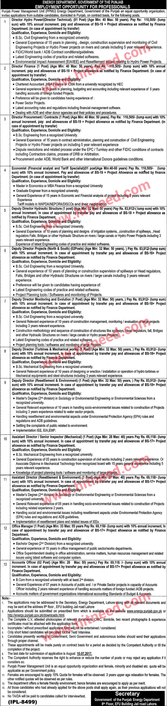 Energy Department, Government of Punjab, Director Hydro Power and Other Jobs, Jun 2017 Last Date: 10-07-2017   #Accounts Officer #Assistant Director #Deputy Director #Director Finance #Director Technical #Energy Sector Jobs #Lahore Jobs #Office Manager