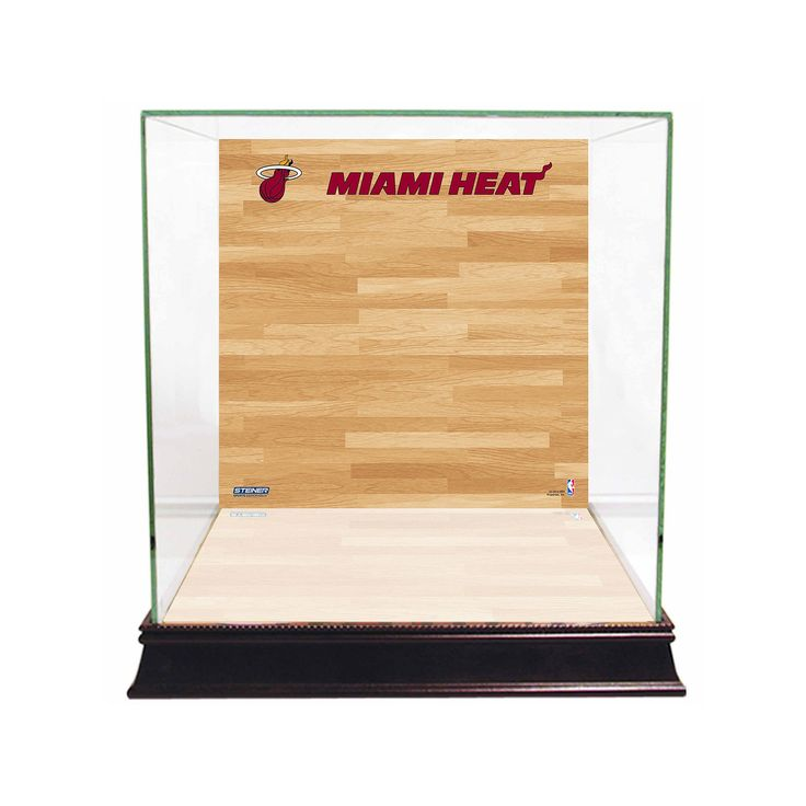 Steiner Sports Glass Basketball Display Case with Miami Heat Logo On Court Background, Multicolor