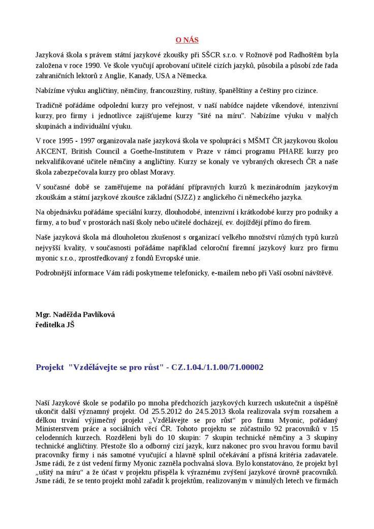 SŠCR - jazykovka - informace
