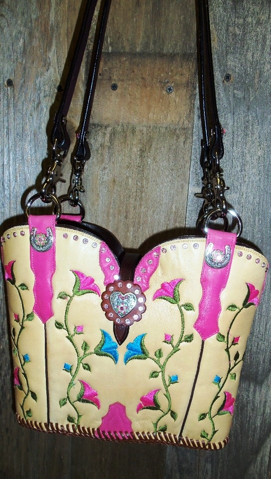 ~Yellow, pink and blue cowboy boot purse with pink crystals.