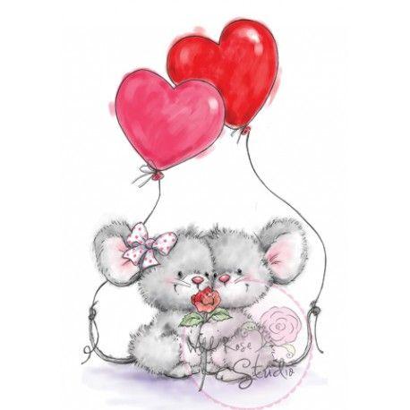 Tampon dessin Souris et cœurs. Wild Rose Studio