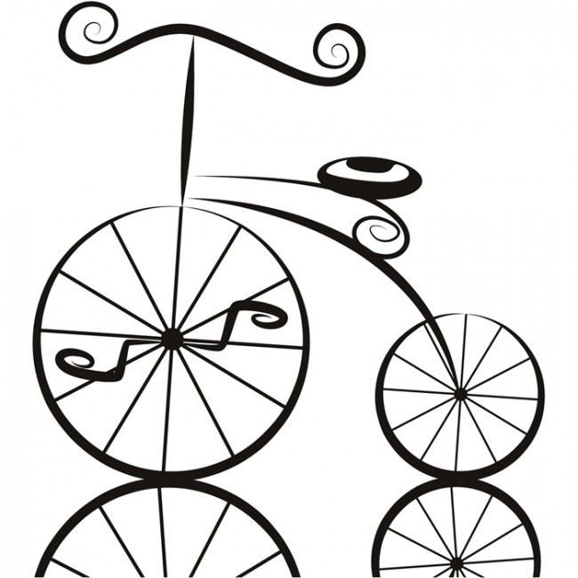 Penny Farthing Cartoon Bike BMX & Cycling Wall Stickers Home Decor Art Decals