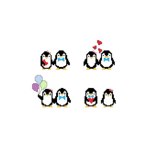 PDF schema punto croce pinguini innamorati  cross stitch