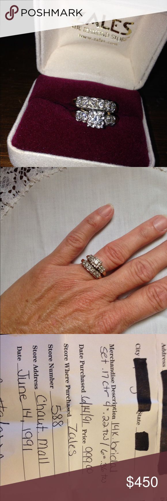 14k bridal set Beautiful.  From Zales.  Only worn 6 months. Zales Jewelry Rings