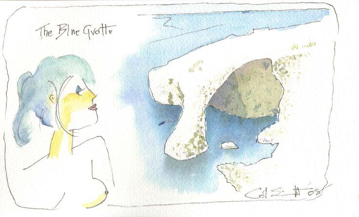 Blue lagoon, Malta  pen and wash