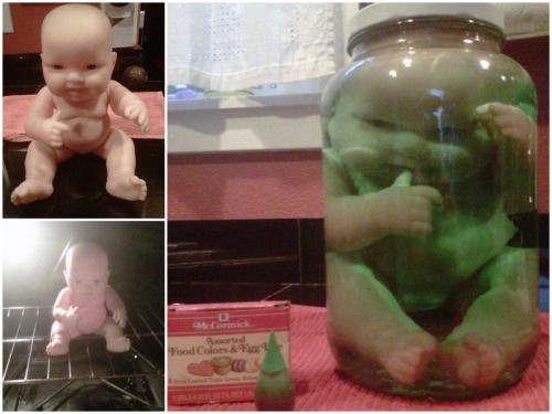 DIY How to Get a Baby Doll Inside a Jar Tutorial from by Bakke on HalloweenForum.com. Very easy and creepy Halloween prop. For more scary doll DIYs like doll head candles, terrifying doll serving dishes and zombie Barbies go here: halloweencrafts.tumblr.com/tagged/dolls