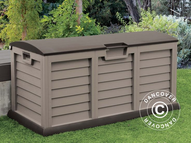 GARDEN STORAGE BOX, 140X61X69 CM, MOCHA/BROWN Garden box for storing garden tools, sports equipment, pool accessories, cushions and other leisure equipment. This capacious garden box has ventilation, waterproof top, wheels for easy moving and a lockable lid. It is simple to assemble without any use of tools. It is also maintenance-free and UV-resistant