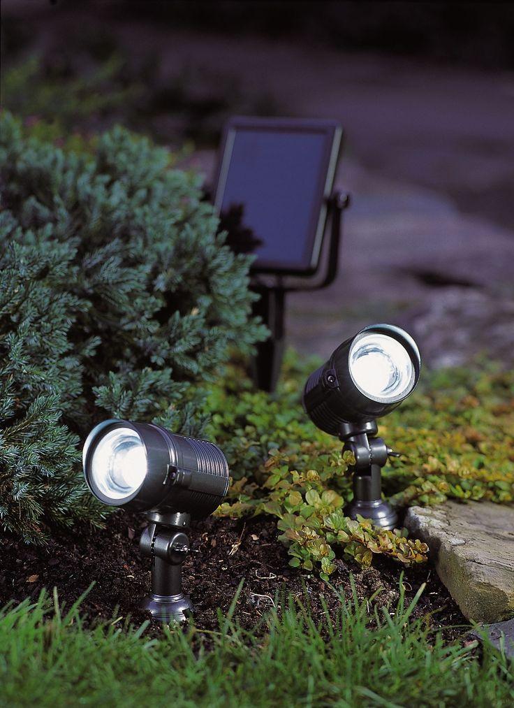 bright solar lights dual solar spotlight in the garden stuff. Black Bedroom Furniture Sets. Home Design Ideas