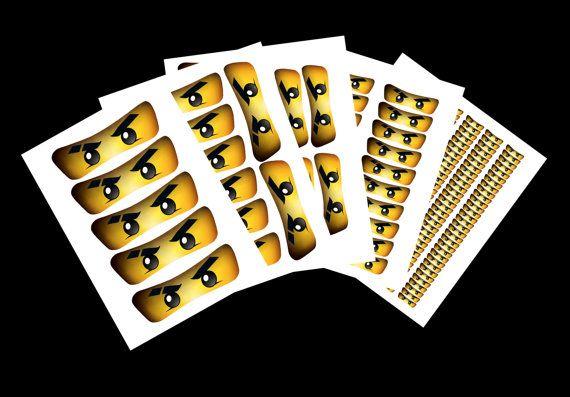 Blaue Ninja Aufkleber Augen: Sofort-DOWNLOAD (hohe Auflösung)