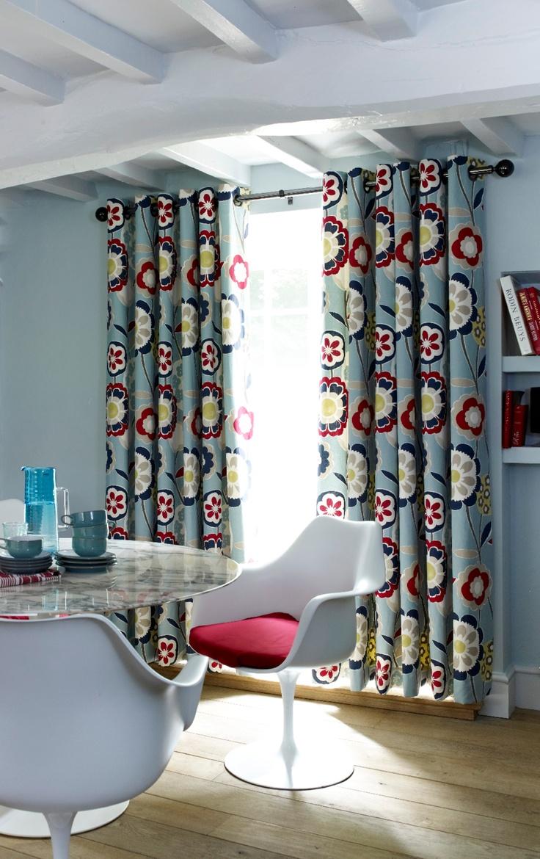 Retro curtains with contemporary grommet header mid for Cortinas originales