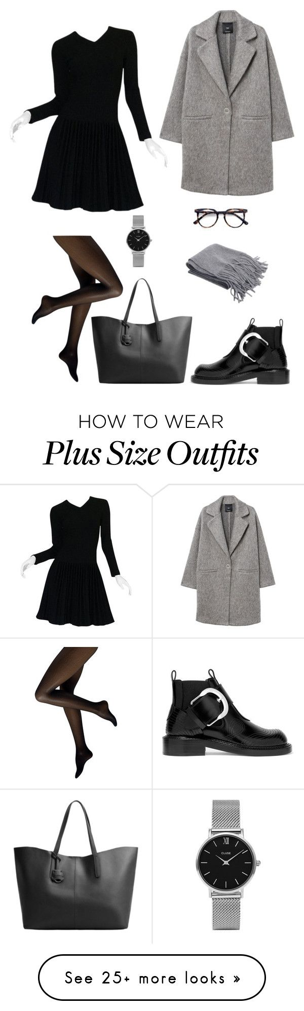 """""""Black dress and cool and chic"""" by andreallaustin on Polyvore featuring Alaïa, MANGO, Maison Margiela, CLUSE and Ace"""