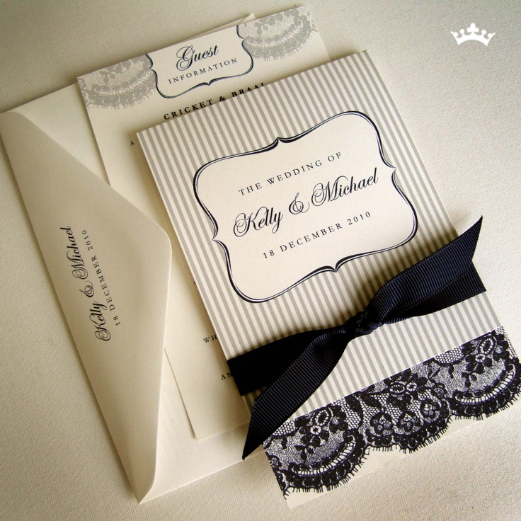 wedding invitation tied with ribbon%0A Blueberry Crumble  folded pinstripe and lace design printed on an off  white shimmery card tied with gross grain ribbon