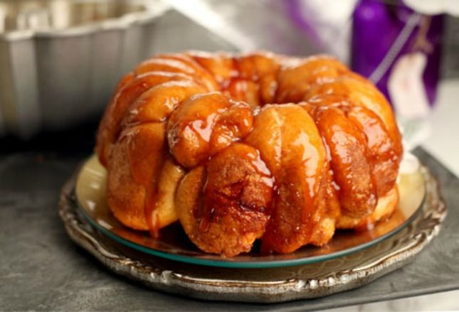 This monkey-bread-inspired bundt cake is made up of dozens of mini doughnuts.