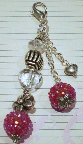 New triple strand charm with chain - Shimmer and Shine Chunky Bead Purse Charm, Keychain, Backpack Char, | doodleedoocreations - Jewelry on ArtFire