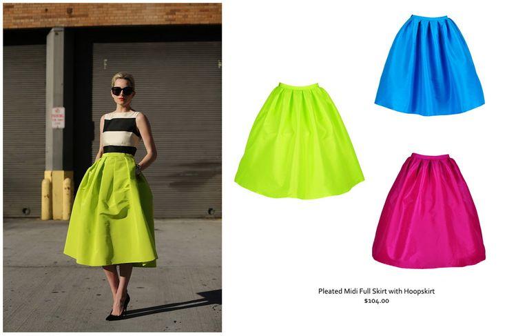 Midi skirts - fuchsia, lime and blue