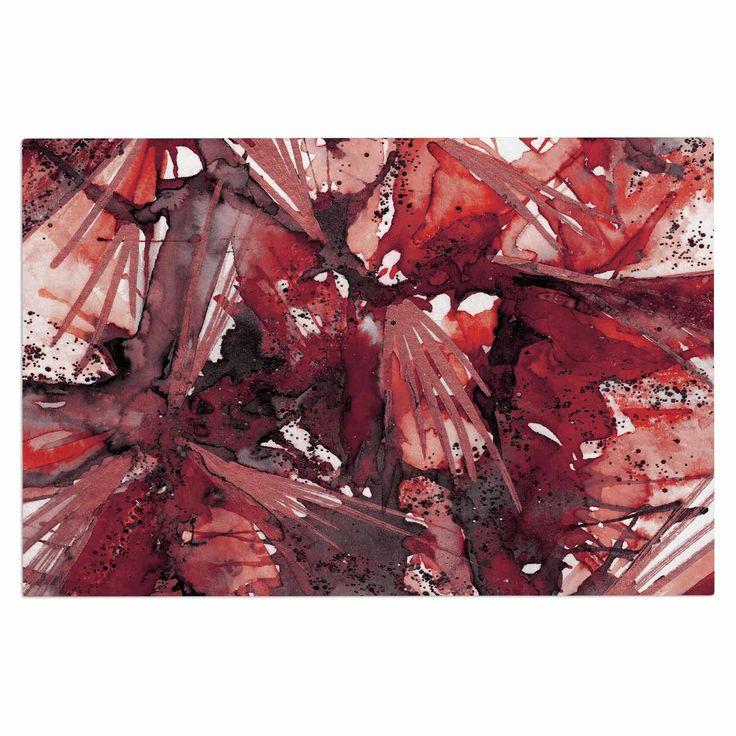 """Ebi Emporium """"Birds Of Prey - Red Black"""" Dark Watercolor Decorative Door Mat"""