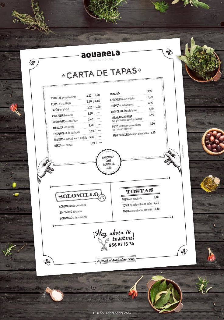 Carta de tapas para Aquarela. Designed by LeBranders.