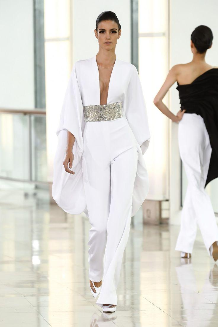 Stephane Rolland » Combinaison pantalon en crêpe drap blanc brodé