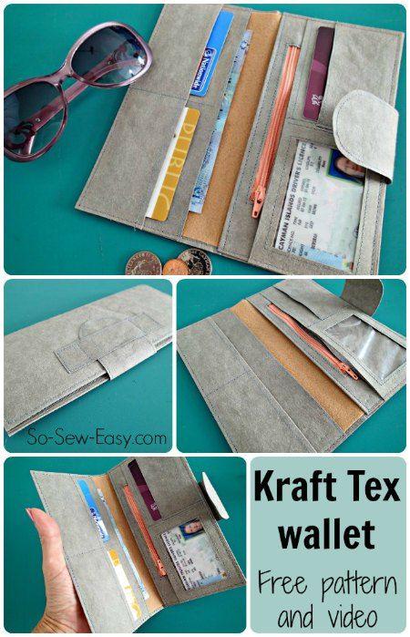 Kraft Tex leather-look wallet. Free pattern and video tutorial.