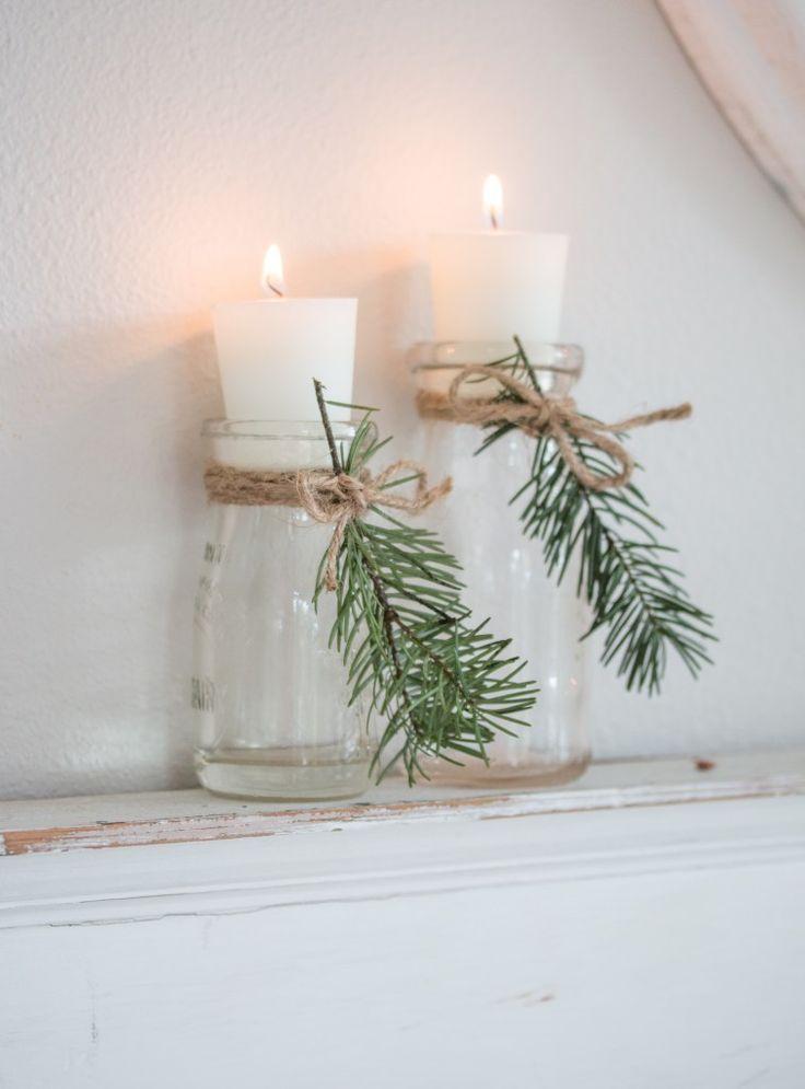 Gemütliches und natürliches Weihnachtswohnzimmer – Dekoration