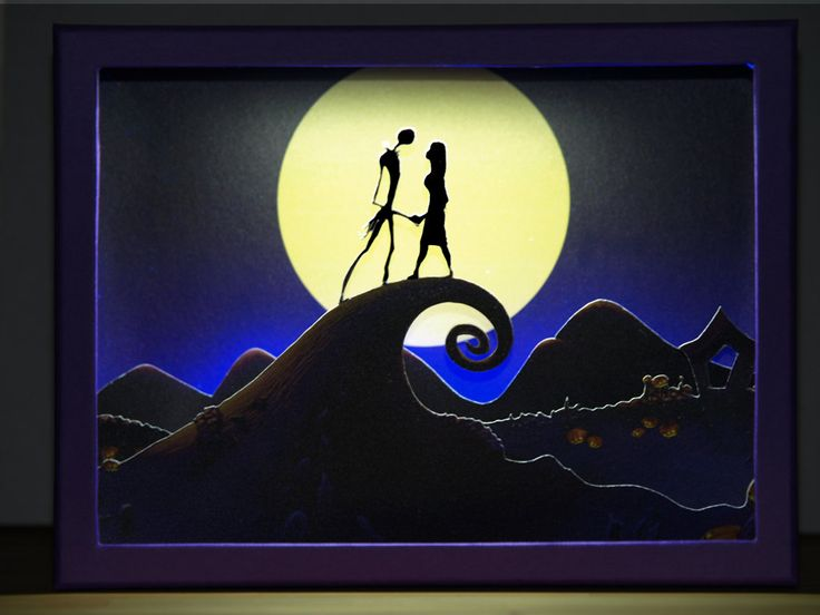 Jack and Sally - Diorama in a box with cutout paper figures and led strip light | Halloween | Tim Burton | Nightmare before Christmas by boxdiorama on Etsy