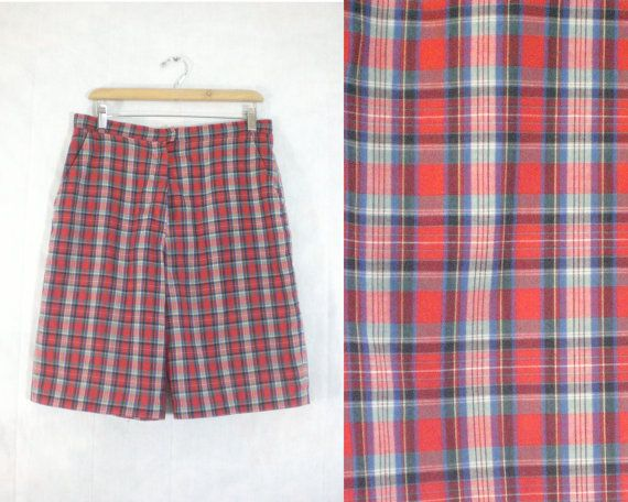 SALE 50%OFF until 10/1 mens plaid shorts size 32 by LondonVtg