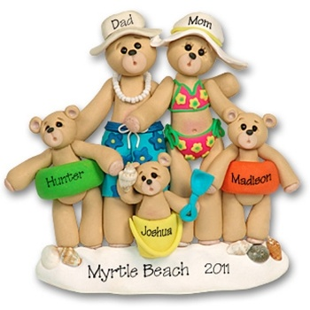 NEW! RESIN  Beach Belly Bears  Family of 5  Personalized Christmas Ornament