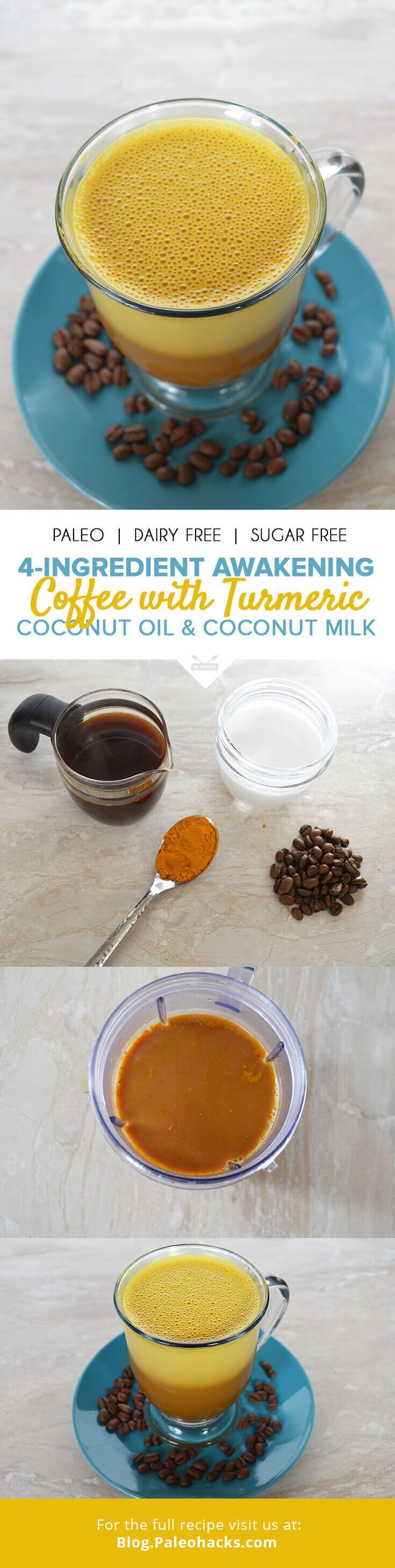 This coffee boasts coconut oil, turmeric and coconut milk to energize you for the day ahead! Get the recipe here: http://paleo.co/awakeningcoffee