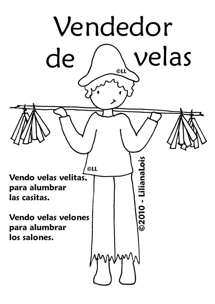 25 de mayo de 1810 dibujos para colorear Los vendedores ambulantes y sus pregones El lechero, la mazamorrera, la lavandera .....  descargala...