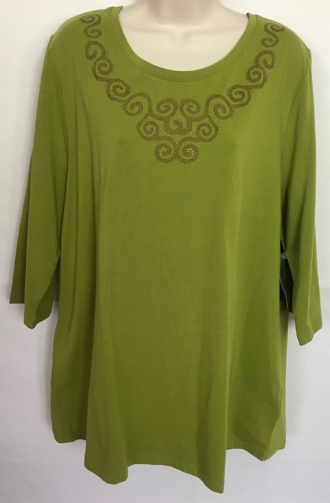 8f262aa708e41 NWT Liz Me for Catherines Women Plus Size 0X 14 16W Stretch Green Top Shirt  c52  Catherines  KnitTop  Casual