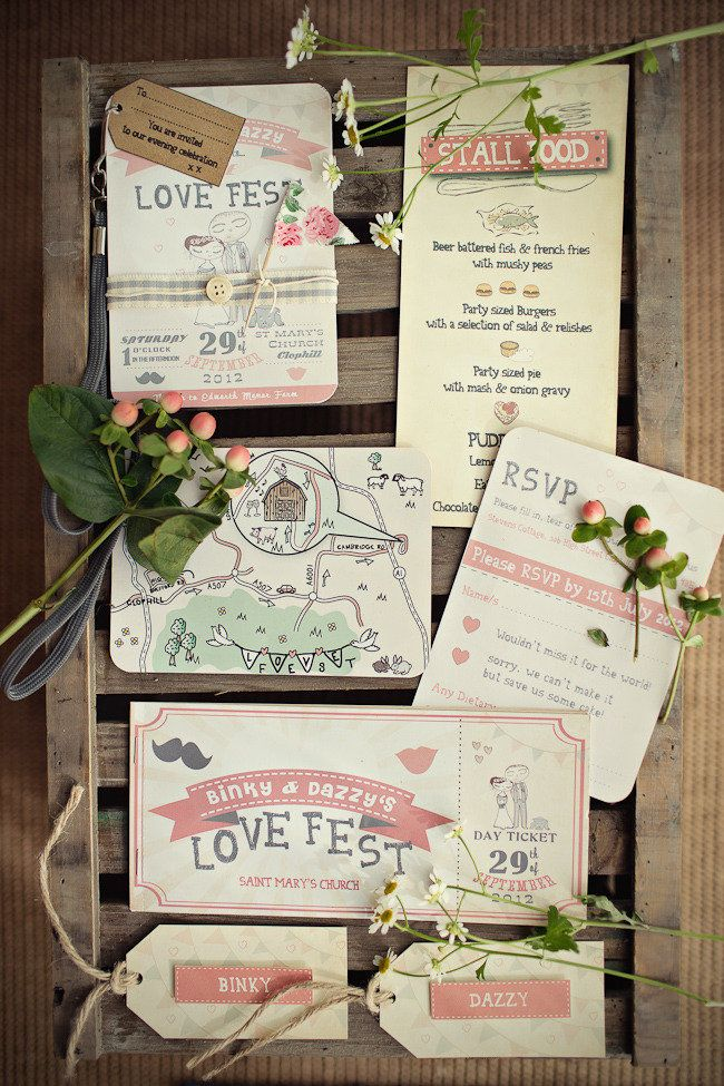 Invites, menus from Binky and Daz's wedding: http://confetti.ie/real-wedding/binky-and-dazs-english-barn-wedding