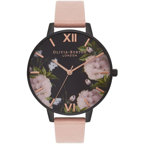Olivia Burton After Dark Floral Watch - Dusty Pink & Rose Gold ($99) ❤ liked on Polyvore featuring jewelry, watches, quartz movement watches, dial watches, floral jewelry, rose gold jewellery and rose gold wrist watch