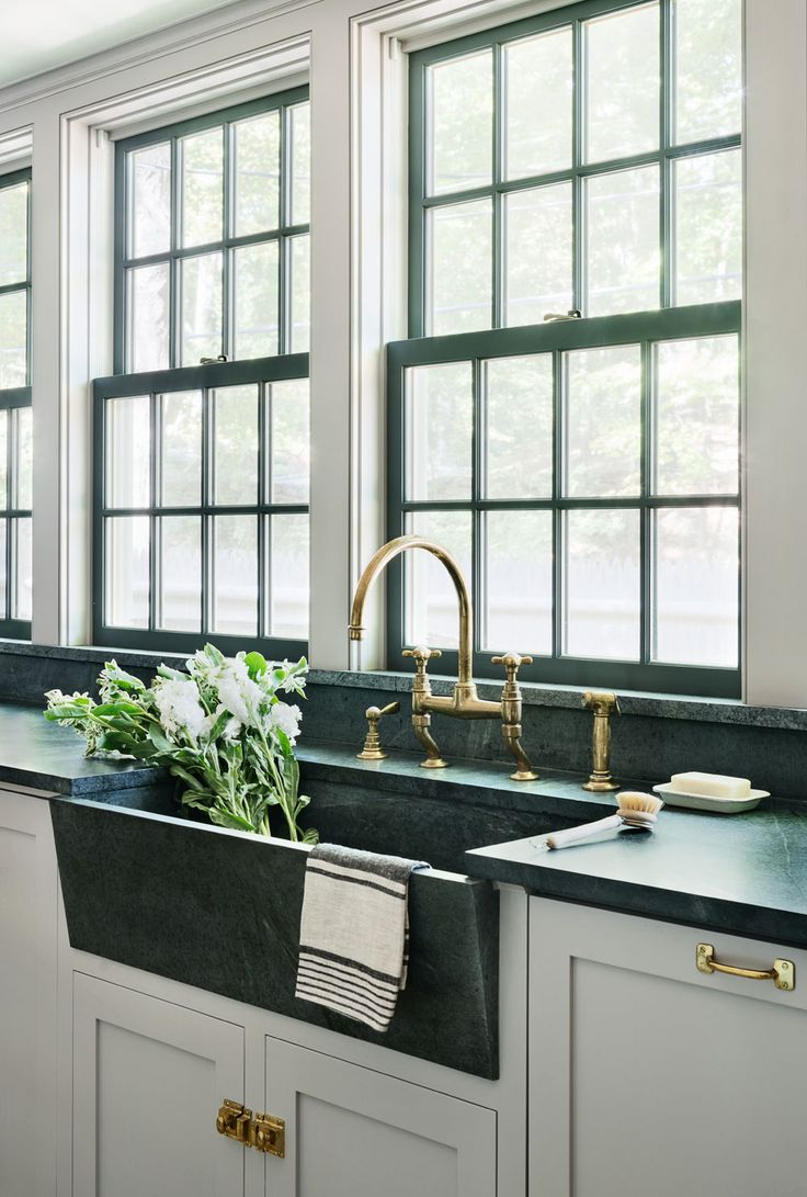 Rafe Churchill | Soapstone sink, Waterworks unlacquered brass Easton Faucet, Farrow & Ball Dove Tale painted cabinets, House of Antique Hardware pulls