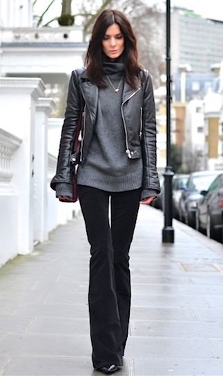dark gray cowl neck sweater, black leather cropped jacket, flare velvet pants- love this looks great cute outfit