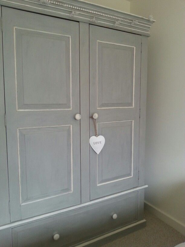 Annie Sloan Paris Grey and Old White painted pine wardrobe lightly distressed and finished with a clear wax.