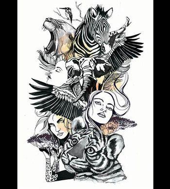 Safari-mood plakat af Stine hvid. Fåes hos www.artrebels.com