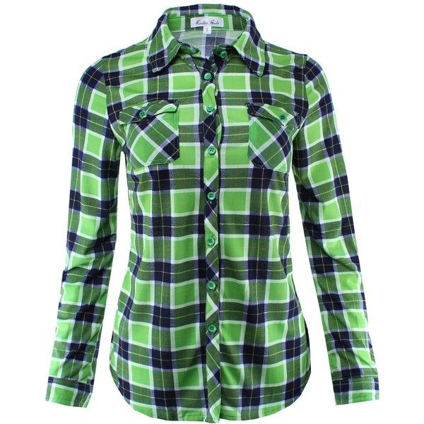 Ladies' Code Women's Checkered Plaid Button Down Shirt Top with Roll... ( - Best 25+ Green Plaid Shirt Ideas Only On Pinterest Hipster Style
