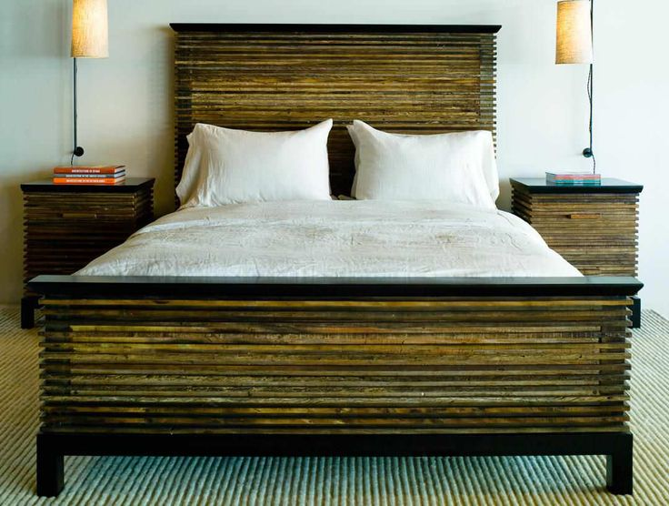 Contemporary Double Bed In Reclaimed Wood Lotus