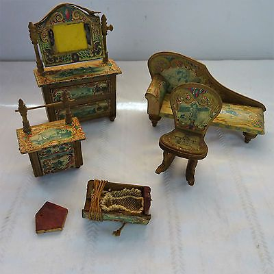 Antique Bliss Paper Litho Doll House Furniture 19th