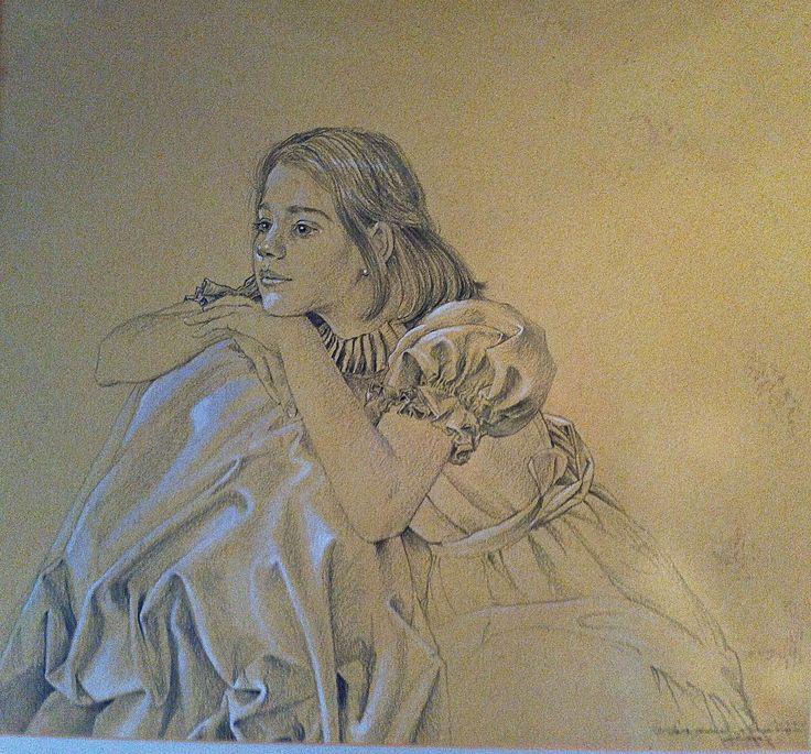 Portrait of Josefina Vicuña Barriga Pencil and white gouache