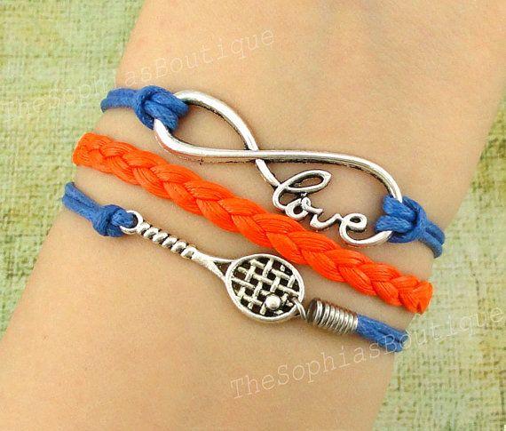 Infinity love, Infinity, love, Tennis Racket charm bracelet, Badminton racket bracelet, Bridesmaid gift, Christmas Gift, Friendship Gift