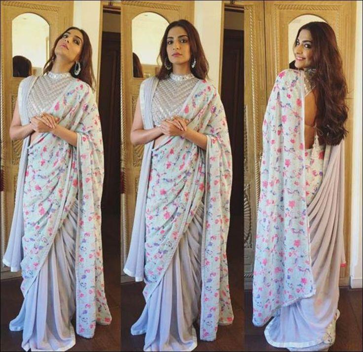 Sonam Kapoor in an Abu Jani Sandeep Khosla printed saree at Mehboob Studio. #Bollywood #Fashion #Style #Beauty #Hot #Desi #Saree #Desi