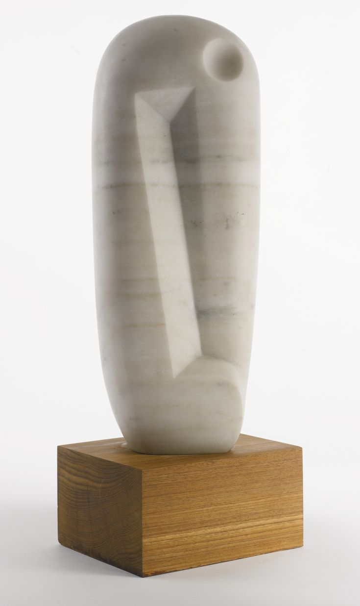 Isamu Noguchi  1904 - 1988  UNTITLED  incised with the artist's initials and date '58  marble with wood base  Sculpture: 16 1/2 by 6 1/2 by 3 3/4 in. 41.9 by 16.5 by 9.5 cm.  Base: 3 3/4 by 7 1/2 by 6 in. 9.5 by 19.1 by 15.2 cm.